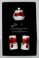 Poppy Salt & pepper pots & mustard pot & spoon gift boxed