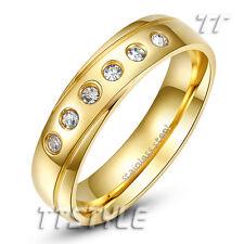 TT 14K Gold GP Multi-CZ Stainless Steel Wedding Band Ring Mens Womens (R327)