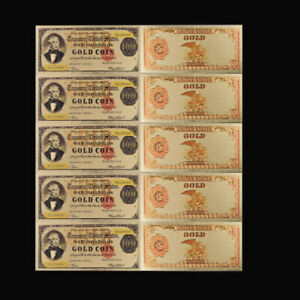 5pcs 24K Gold Plated Banknote Dollar Foil Money 100 Us Banknotes Collection