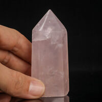 114g 76mm Natural Pink Rose Quartz Crystal Point/Tower Healing Obelisk Wand