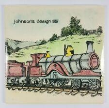 More details for retro hereford tiles ltd johnsons steam train design 1887 ceramic tile 6