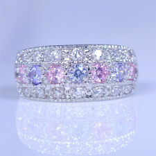 Round Cut Purple Pink CZ Eternity Rings 925 Silver Women's Wedding Jewelry Gifts