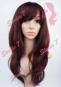 W149 Red Brown Long Layered Sythetic Wig - studio7-uk