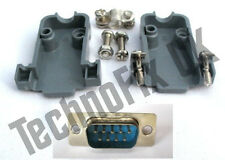 DB9 male DB9M plug connector  + shell/shroud/hood UK seller serial, COM port