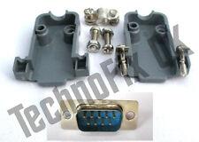 DB9 male DB9M plug connector  + shell/shroud/hood UK seller serial, COM port