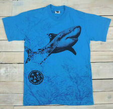 Vintage 90s MAUI AND SONS All Over Shark Print Blue T-Shirt Size L (Fits M) USA