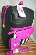 Betsey Johnson LBLEXIE Cat 2 for 1 Backpack + Zip-Off Crossbody, Blk/Fuschia NWT