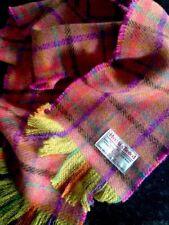 Harris Tweed Scarf Orange Purple Pink Coral Teal Yellow Aubergine Colourful Wool