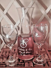 Personalized  Wine Decanter Set with Two White  Wine Glasses