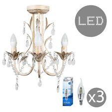 Traditional Style Distressed White Shabby Chic 3 Way Ceiling Light Chandelier