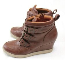 Mossimo Women Wedge Ankle Boots Size 9 Brown Zipper Straps Heels