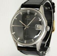 Vintage mens TISSOT & FILS Automatic Date cross hair Black dial, serviced