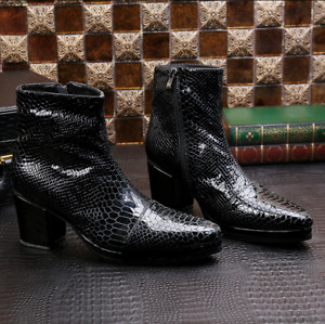 Mens Real Leather British Round Toe snakeskin print Block Heel Shoes Ankle Boots