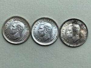 Canadian Dimes - 1937 1938 & 1940