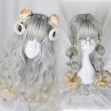 Japanese Harajuku Gothic Lolita Mori girl curly Long Gray Gradient Cosplay Wig