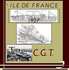 ss ILE DE FRANCE 1927 French Line : Complete Retractable GA Deck Plans+ Profile