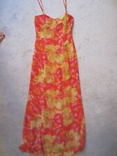 WOMENS LOVE 21 FOREVER 21 LONG PINK/YELLOW SPAGHETTI STRAP FITTED SUNDRESS (XS)
