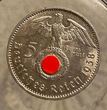 HINDENBURG WW II  GERMAN SILVER COIN 1938 F 5 Reichsmark 900 silver