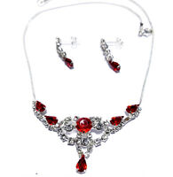 Wholesale Jewerly Lot Red Rhinestone Necklace Earring 6 Sets