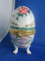 bonbonniere boite oeuf en porcelaine limoges decor de fleurs