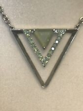 Signed Guess Silver Tone Triangle Pendant Necklace