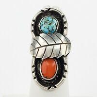 Navajo Silver Coral Ring Size 4.5