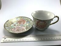 Gold Edge and rose  trim Ceramic Coffee Cup and Saucer Set