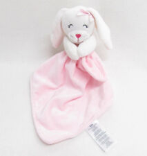 CARTERS BABY BUNNY BLANKET RATTLE PINK STRIPED EARS