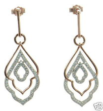 Rose Gold Over Solid 925 Sterling Silver Lab Simulated Diamond Earrings '