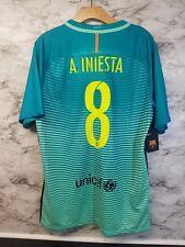 Nike FC BARCELONA Stadium 3rd Jersey Sz L A. INIESTA #8 Teal 90$ Tags NEW
