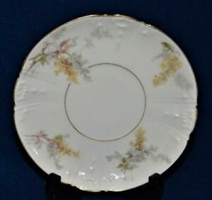 Antique 1890s CHARLES FIELD HAVILAND LIMOGES Yellow Purple FLOWERS Saucer