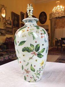 "India Jane Botanical Floral Porcelain Table Lamp 15"" Tall"
