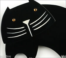 PAVONE FIGURAL GALALITH BLACK BANDINO CAT KITTEN PET BROOCH PIN FRENCH RESIN