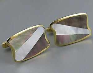 Mens Vintage ASCOT MAUVE MOTHER OF PEARL CUFFLINKS Costume Jewelry R96