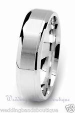 18K White Gold Men's Wedding Ring Mans Mens Satin Flat Comfort Fit Band 6mm