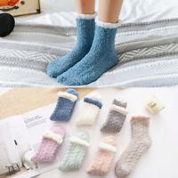 Women Winter Warm Middle Tube Twist Thick Fluffy Coral Fleece Bed Floor Socks