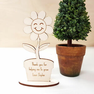 Teacher Gift - Personalised Wooden Flower Thank You Gift - Helping Me Grow