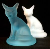 "Boyd Art Glass Two Satin "" Sly The Fox "" # 14 Milk White And # 24 Sky Blue"