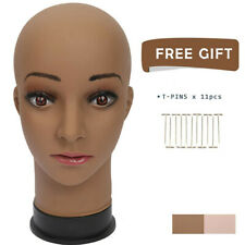GEX Female Mannequin Bald Wig Making Head Brown for Hats Sunglasses Display