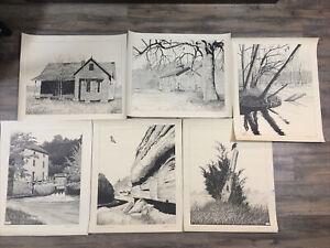 Jim Lish B&W Missouri Landscape Prints Set of 6 Drawings Fine Art Unframed
