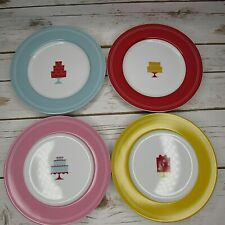 "Cake Boss 8"" Dessert Plates Mini Cakes 4 Design Set Porcelain"