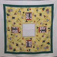 Vintage Tablecloth Amish Country Kitchen Potbelly Stove Clock Green Yellow Dutch