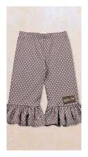 NWT Matilda Jane Sonia Big Ruffle Pants Gray with Pink Polka Dots Size 6