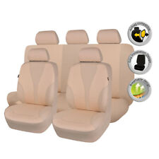 universal Car Seat Covers Set Polyester Hot Stamp Seat Protectors Washable Beige