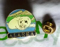Vintage RARE Alaska STATE Ring SEAL Netsik Nattiq TRAVEL usa Pinback Button PIN