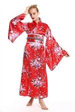 Costume Women's Carnival Geisha Japanese Girl Chinese Kimono Red Cherry Blossoms