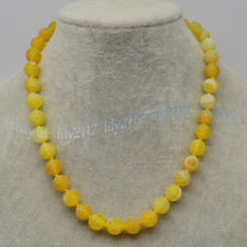 Yellow 6/8/10mm Matte Dream Fire Veins Agate Gems Round Beads Necklaces 14-55''