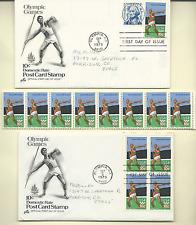 USA Scott 1790 10 Centimes Jeux Olympiques 2 FDC & Bande de 8 Color Erreur