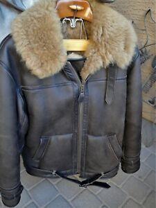 Genuine Sheepskin Leather Flying Bomber Jacket Bygone Era Irvin style Sz 38