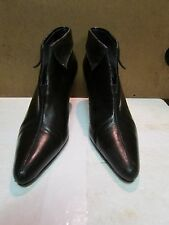 Stefani Collection Black Leather Heeled Ankle Booties Size 7.5M